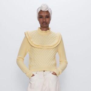 Zara Yellow Ruffle Knit Sweater